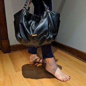 Aut Burberry black soft leather plaid purse/bag!
